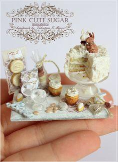 Cup Cake Croissant Dollhouse Miniatures Set of Macaron Fruit Tart on Tray