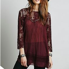 Free People One Plum Lace Inset Flowy Top Free People One Plum Lace Inset Flowy Top. Brand new without tags. Keyhole detail in back. I accidentally ripped label tag off. Top is still online so it can be verified that it is authentic. Retails for $108. Offers welcome! Free People Tops Blouses