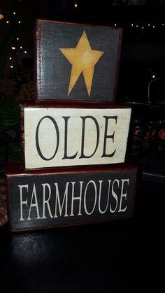 PrimiTive OlDe FarmHouse BloCks by Harvestmoonjars on Etsy