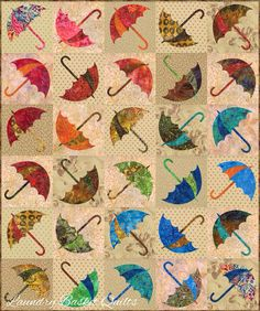 """Laundry Basket Quilts - Dancing Umbrella made with """"Jelly Bean"""" fabric collection."""
