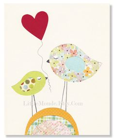 "Heart For my Mommy, 8x10"" Personalized Nursery Print, Cute Kids Decor, Baby Girl Room Decor, Nursery Art, Little Birds Nursery Illustration. $16.00, via Etsy."