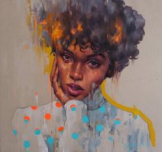 """What is she thinking of? Lovely artwork by called """"Muse"""" [mix painting on linen, cm] . Black Art Painting, Black Artwork, Figure Painting, Black Love Art, Black Girl Art, Art Anime, African American Art, Dope Art, Art Graphique"""