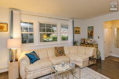 Three new double hung windows we recently installed in this attractive Long Island living room...  Home Remodeling / Home Improvement / Renovations / Three double hung windows from Renewal by Andersen Long Island