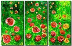 Rose sparse su prato quadro disponibile su bimago.it  //  roses on grass, painting from bimago.com