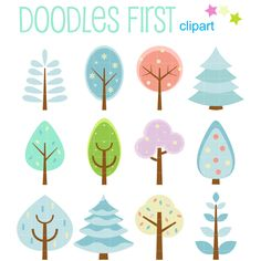 Cute Winter Tree Set Digital Clip Art for Scrapbooking Card Making Cupcake Toppers Paper Crafts (2.99 USD) by DoodlesFirst