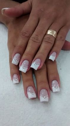 Nail unha francesinha bridal nails french, nail french, french manucure, french tips, French Nails, French Manicure Nails, Manicure Ideas, French Nail Designs, Nail Art Designs, Toe Nails, Pink Nails, Coffin Nails, Wedding Nails Design