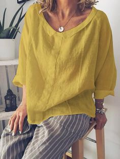 Long Sleeve Peter Pan Collar Solid T-Shirts – pingchic Saree Blouse Designs, Blouse Styles, Linen Blouse, Linen Dresses, Summer Shirts, Types Of Sleeves, Trendy Outfits, Casual Wear, Long Sleeve Shirts