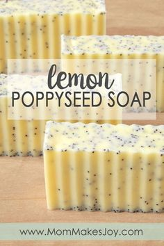 These lush lemon poppy seed soap bars are made with cocoa shea mango butters Check out how to make them yourself with this easy tutorial DIY Bath and Body How to make soap without lye Soap Making Mom Makes Joy Handmade Soap Recipes, Soap Making Recipes, Handmade Soaps, Diy Soaps, Diy Savon, Lye Soap, Soap Molds, Castile Soap, Glycerin Soap