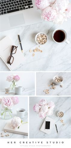Marble and Peonies. Styled Stock Photography for bloggers, creatives and business owners. Use with your website, social media and online marketing. Sandra Manton Mills. — Her Creative Studio