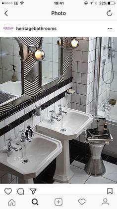 Twin Basins In This Art Deco Style Monochrome Bathroom
