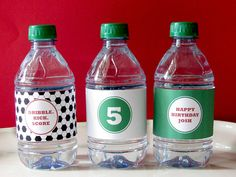 Soccer Birthday  Drink Wrap  Printable Party  by EllisonReed, $9.00  Here is another idea for the water bottle labels. I like the three different designs with these in particular.