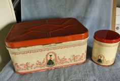 "Vintage Metal Bread Box & 5 1/2"" MATCHING CANISTER TIN Depicting Lady & Roses"