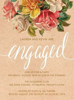 Darling Bouquet Engagement Party Invitation