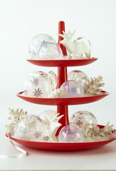 Tiered beauty - A tiered serving tray is great for serving up decorations as well as holiday treats. An assortment of white and clear ornaments tucked into faux snow dresses up this tray in style.