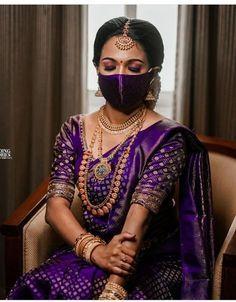 Bridal Sarees South Indian, South Indian Wedding Saree, Indian Bridal Outfits, Indian Bridal Fashion, Indian Bridal Wear, Saree Wedding, Indian Silk Sarees, Wedding Dresses, Wedding Saree Blouse Designs