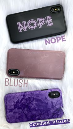 NOPE + Blush + Crushed Violet Cases from Elemental Cases. Shop Cases for iPhone X, iPhone 8 Plus / 7 Plus & iPhone 8 / 7 now! #iphone8plus,