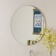Decor Wonderland 23.6-in W x 23.6-in H Round Frameless Bathroom Mirror with Hardware and Beveled Edges