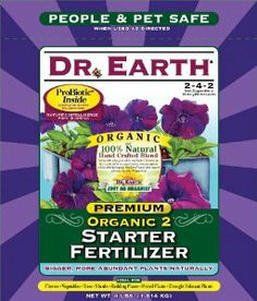 Dr. Earth 701P Organic 2 Starter & Transplant Fertilizer Poly, 4-Pound by Dr. Earth. $14.18. Exceptional results because nutrients are released quickly. Safe for all tender transplants e.g. Pony pack and 4-inch containers. Contains pro-biotic, seven champion strains of beneficial soil microbes plus ecto and endo mycorrhizae. Eight select strains of ecto and endo mycorrhizae contribute to drought tolerance, enhanced nutrient availability and increased plant performa...