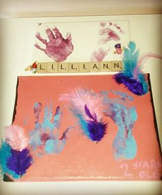 Canvas, paint, glue ,feathers scrabble pieces year year two so on.very easy to make. pinned by van Scrabble, 1 Year, Feathers, Vans, How To Make, Painting, Van, Painting Art, Paintings