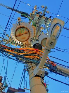 bassman5911: Electric pole in Nakatsu, Osaka-city, Japan. (Taken and edited by Bassman) 2013-05-25