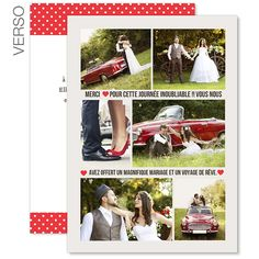 remerciements mariage personnaliss rouge vintage - Texte Remerciement Mariage Personne Absente
