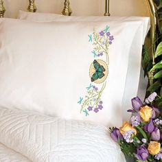 Butterfly Meadow Pillow Cases Stamped Cross Stitch Kit