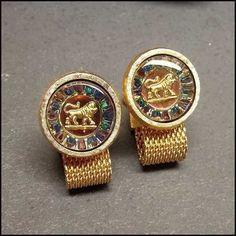 Vintage Cufflinks Astrology Leo Crystals Hickok for Oleg Cassini MIB ($75) via Polyvore