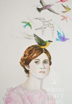 """""""Pájaros en la cabeza"""" Acuarela sobre papel."""