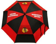 """NHL Chicago Blackhawks Umbrella by Team Golf. $29.99. -1. 4 location imprint and printed sheath. Auto open button. 62"""" Umbrella. 100-Percent nylon fabric. Double canopy wind protection design. 62"""" double-canopy umbrella with multi-colored panels and full color durable imprint. Includes an easy grip molded handle. Withstands strong winds."""