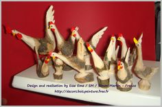 an idea from the Aosta Valley... roosters cut or carved with knife in forked branches