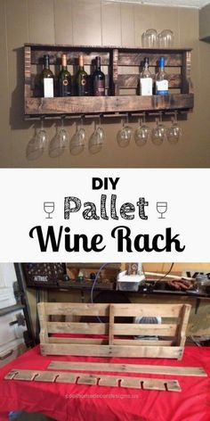 Wood Pallet DIY Wood Pallet Wine Rack - Kitchen wall decor ideas'll make the space more than just a place to whip up a meal. Find the best designs! Give your kitchen a pop of personality! Diy Wood Pallet, Wood Pallet Wine Rack, Diy Pallet Projects, Home Projects, Wood Pallets, Rustic Wine Racks, Diy Wine Racks, Pallet Walls, Craft Projects