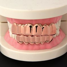 Rose Gold Plated Grillz Top & Bottom These Grillz Are Designed For Top & Bottom Teeth. Grillz Come With 2 Silicone Bars That Will Be Used To Mold To the Grill. Instructions Are Included! Cute Jewelry, Body Jewelry, Girl Grillz, Bottom Grillz, Diamond Grillz, Grills Teeth, Tooth Gem, Gold Grill, Tattoo Cream