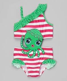 Look at this Sol Swim Green & Pink Octopus Cutout One-Piece - Infant & Toddler on #zulily today!