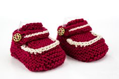 Hand Knit Baby Loafer Booties, Newborn Booties, Modern Booties, Cute Newborn Booties, Red White Newborn  Booties, Summer Shoes by heaventoseven on Etsy