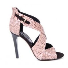 A sexy Derek Lame snakeskin high heeled sandal.