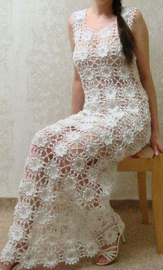 This Pin was discovered by Sus Crocheted dress tunic made to order crochet handmade lace unique flowers Crochet Bracelet - How to start the crocheted jacket with lace pattern in DROPS Gilet Crochet, Crochet Blouse, Crochet Lace, Knit Dress, Dress Skirt, Crochet Wedding Dresses, Maxi Dress Wedding, Bridal Dresses, Crochet Dresses