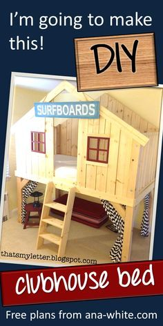Ana White Build a Clubhouse Bed Free and Easy DIY Project and Furniture Plans. So cool for a little boys room! Easy Woodworking Projects, Easy Diy Projects, Woodworking Wood, Furniture Plans, Diy Furniture, System Furniture, Bed Platform, Bed Plans, Diy Bed