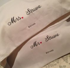 Mr and Mrs personalized pillow cases by HomemadeFashions4You, $26.00