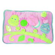 """This baby pillow is a new concept in baby activity toys!    Great for entertaining baby and teaching hand and eye coordination!    This 18"""" x 12"""" interactive pillow has a mirror, teether, crinkle and playful textures - plus a separate caterpillar squeaker!"""
