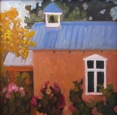 """Hidden Chapel"" 8x8"" New Mexico church painting by Dee Sanchez, painting by artist Dee Sanchez"