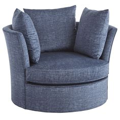If anything, our Ike chair is well-rounded. Handcrafted with a eucalyptus wood frame, it swivels a full 360 degrees with three removable pillows and a reversible, coil-spring seat cushion—all clad in plush blue upholstery.