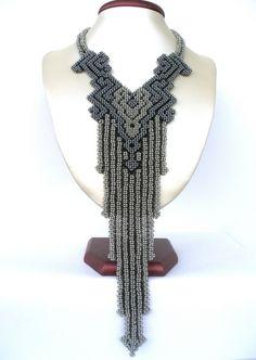 Gallery.ru / Черномор - Графическая мифология - elena0740 Bead Jewellery, Beaded Jewelry, Unique Jewelry, Handmade Jewelry, Jewelry Design, Seed Bead Necklace, Beaded Earrings, Geometric Necklace, African Jewelry