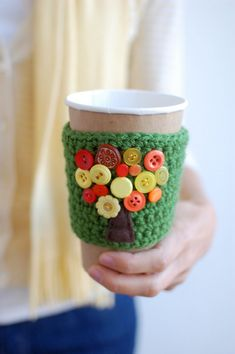 Tree coffee cup cozy with buttons by The Cozy Project. $18.00, via Etsy.