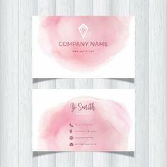 名片粉紅色的水彩設計