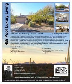 Oro Valley 4Br Pool Open Sun 12-3pm Please Come Visit http://orovalleyrealestateandhomes.com/homes-for-sale/11229-N-Via-Rancho-Naranjo-Tucson-AZ-85737-233872918