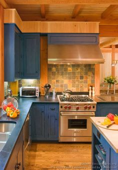 Traditional Kitchen Design Ideas With Wolf Range Soapstone Top Backsplash In Traditional Blue Kitchen Cabinets Orange Kitchen Decor, Kitchen Colors, Kitchen Design, Kitchen Layout, Country Kitchen, New Kitchen, Kitchen Ideas, Shaker Kitchen, Kitchen Reno