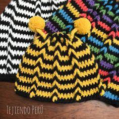 Crochet: gorro con trenzas de vainillas en circular modelo abeja para bebés!! Paso a paso :)