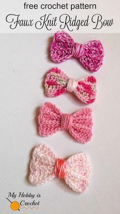 Faux Knit Ridged Bow - Free Crochet Pattern on myhobbyiscrochet.com