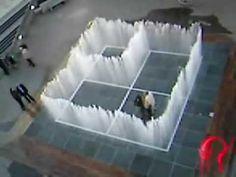 Appearing rooms. Habitaciones que aparecen, fuente interactiva de Jeppe Hein. Boulevard del Gran Capitán