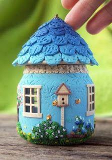 Polymer Clay Fairy, Polymer Clay Crafts, Diy Clay, Glass Bottle Crafts, Bottle Art, Jar Crafts, Diy And Crafts, Clay Fairy House, Fairy Houses